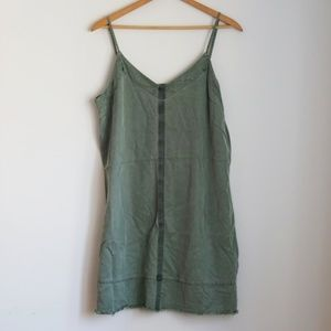 Vince Camuto Army Green Skinny Strap Shift Dress